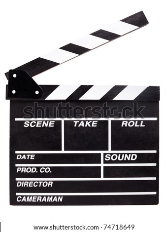 clapperboard isolated on white background - stock photo