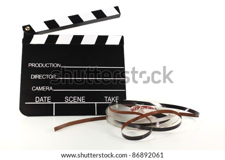 clapperboard with screen roll on a white background - stock photo