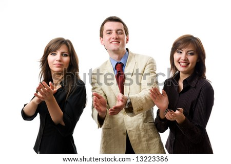 Clapping. Group of smiling businesspeople. Isolated