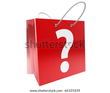 claret shopping bag with big white question mark and nice reflections isolated on white background - stock photo