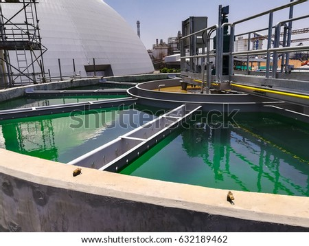 Clarifier in power plant to treat waste water before discharge to the river
