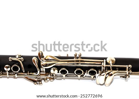 clarinet isolated on a white background - stock photo