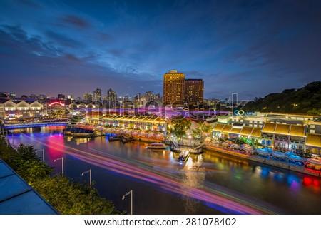 Clarke Quay at Singapore night : 31 JAN 2015 - stock photo