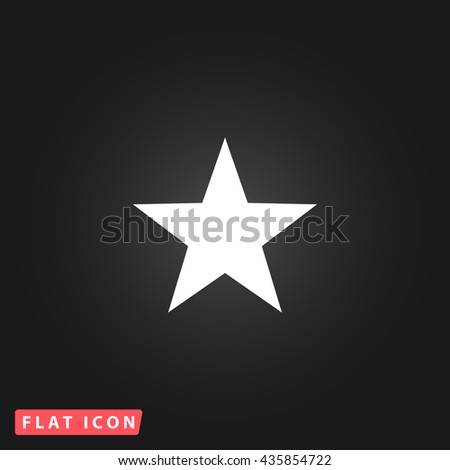 Clasic star White flat icon on dark background. Simple illustration pictogram - stock photo