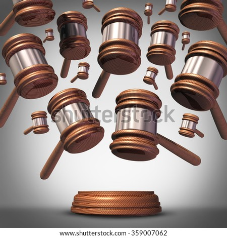 Class action lawsuit concept as a plaintiff group represented by many judge mallets or gavel icons coming down as a symbol for social litigation or organized legal legislation. - stock photo