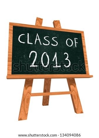 class of 2013 - chalk text on isolated easel blackboard, graduate education concept - stock photo