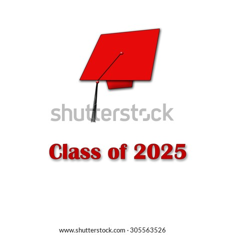 Class of 2025 Red on White Single Large