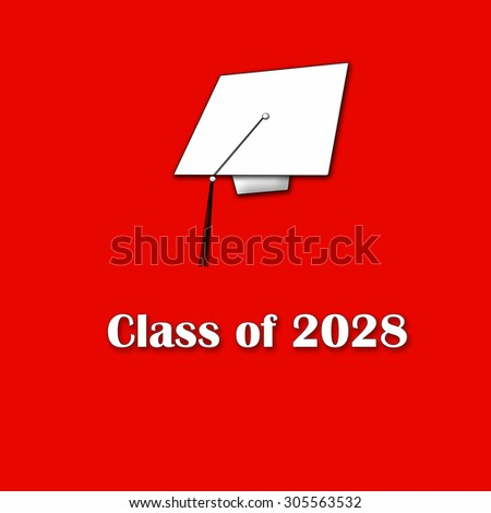 Class of 2028 White on Red Single Large