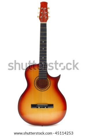 Classic acoustic guitar isolated on white background - stock photo