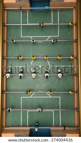 Classic aged Foosball table high resolution - stock photo