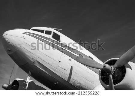 Classic Airliner in Black and White - stock photo