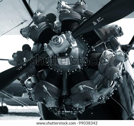classic airplane  monochrome - stock photo
