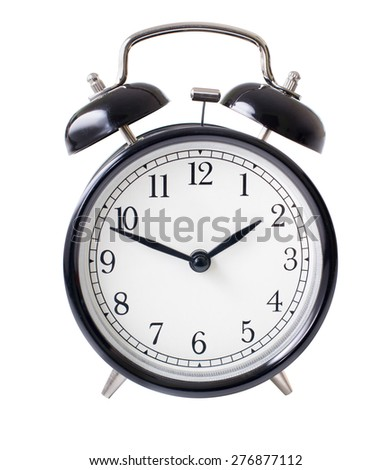 Classic alarm clock isolated on white with clipping path included - stock photo