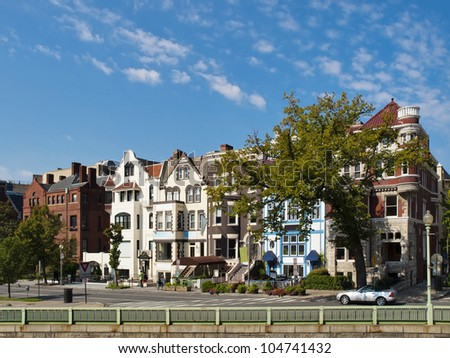 Classic American Architecture in Washington DC, View of 20th street from Connecticut Avenue - stock photo