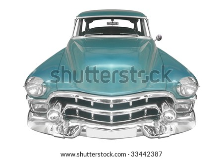 classic American car from the 40s isolated on white background - stock photo