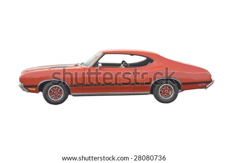 Classic American red muscle car on white - stock photo