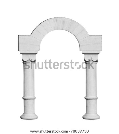 Classic arch isolated on white - stock photo