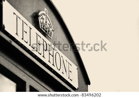 Classic back and white telephone box in London - stock photo