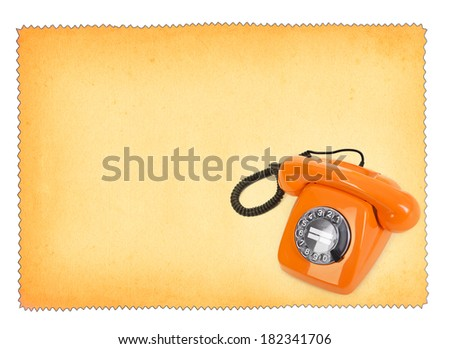 classic bakelite telephone over stained paper background, all isolated on white background - stock photo