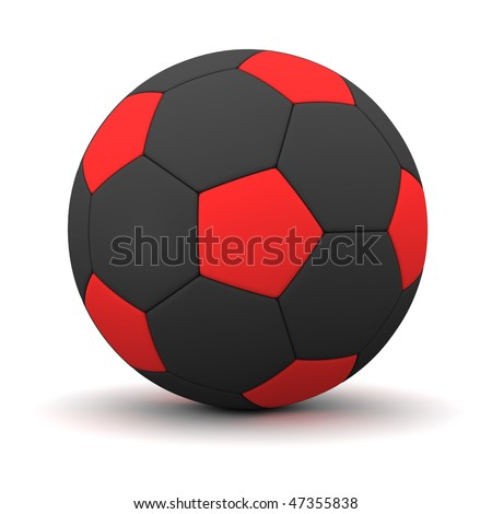 classic ball consisting of red pentagons and black hexagons