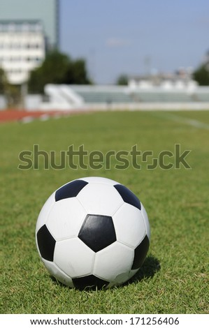 Classic ball pattern on green yard with grandstand. - stock photo