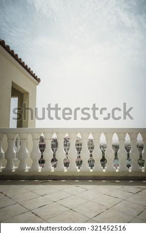 Classic balustrade railing design on the terrace.  - stock photo
