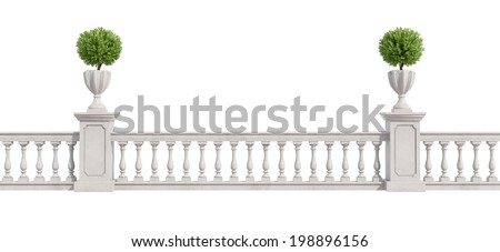 Classic balustrade with pedestal and vase with plants isolated on white - rendering - stock photo
