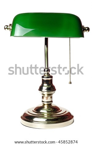 classic bankers lamp isolated on a white background - stock photo