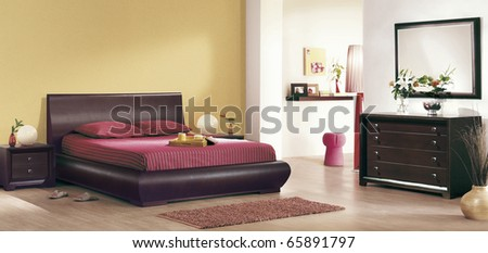 classic bedroom interiors - stock photo
