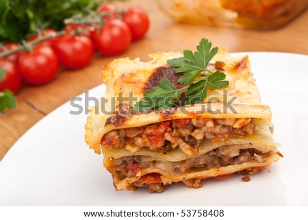classic beef lasagna - stock photo