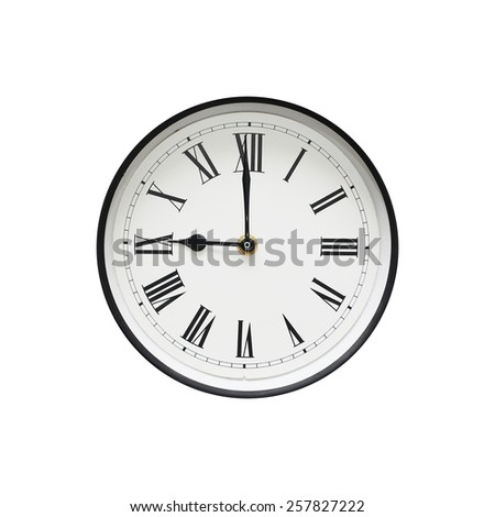 Classic black and white round clock isolated on a white background - stock photo