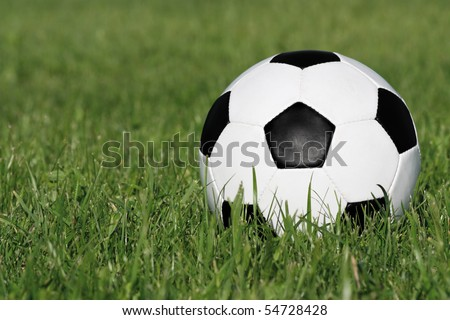 Classic black and white soccer ball on green grass - stock photo