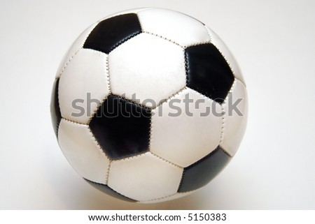 Classic black and white stitched soccer ball.