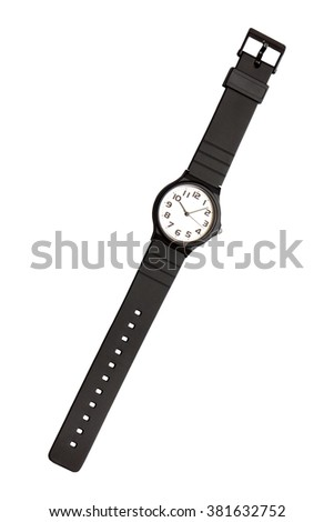 Classic black and white wrist watch on white background, isolated - stock photo