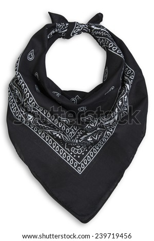 classic black bandana on a white background - stock photo