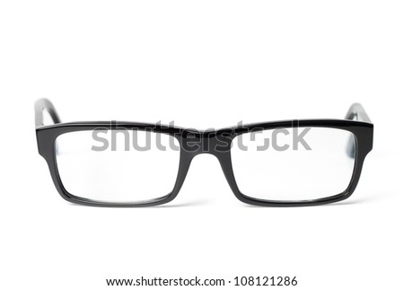Classic black eye glasses front, isolated on white background - stock photo