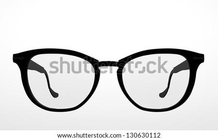 classic black glasses isolated on white background - stock photo