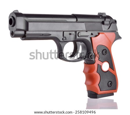 Classic black hand gun pistol isolated on white background - stock photo
