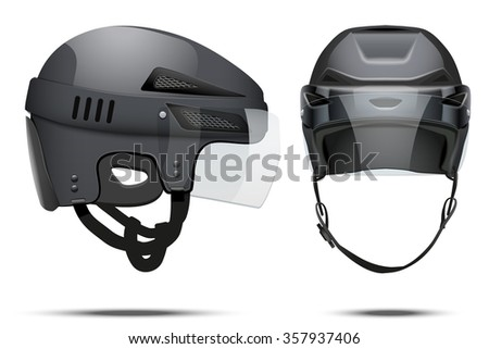 Classic black Hockey Helmet with glass visor. Front and side view. Sports  illustration isolated on white background.
