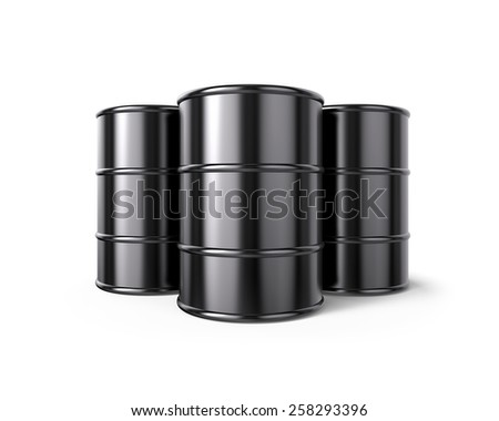 Classic Black Oil Barrels , isolated on white - stock photo