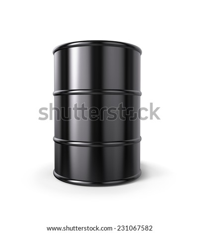 Classic Black Oil Drum with clipping path - stock photo