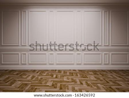 classic blank interior, 3D render - stock photo
