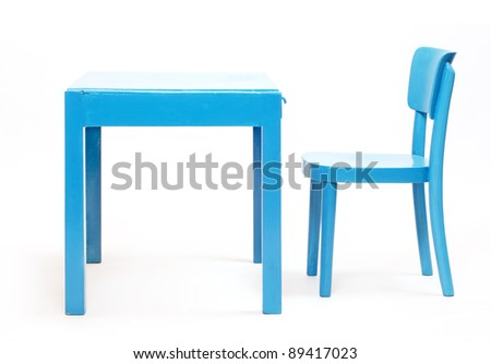 Classic blue chair and table - school desk on a white background. - stock photo