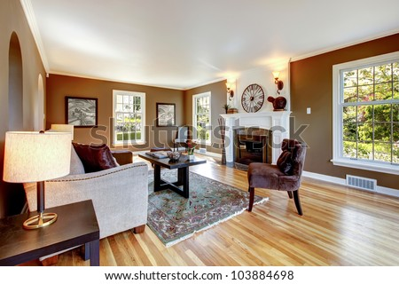 Classic Brown And White Living Room Interior With Hardwood Floor. Part 93