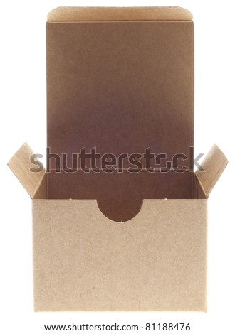 Classic Brown Box Open Isolated on White with a Clipping Path. - stock photo