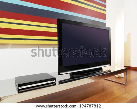 classic brown wooden TV cabinet with a large LCD TV - stock photo