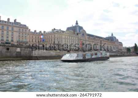 classic building in Paris, France, blurred moving sightseeing  - stock photo