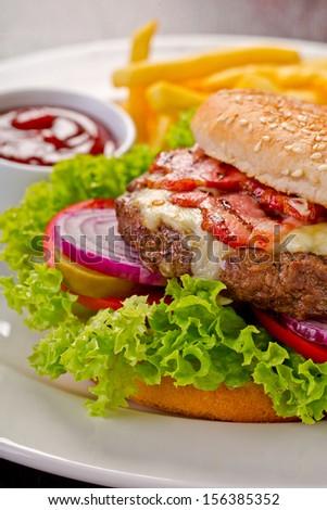 classic burger - stock photo