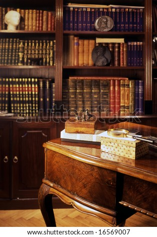 classic cabinet with wooden desk - stock photo