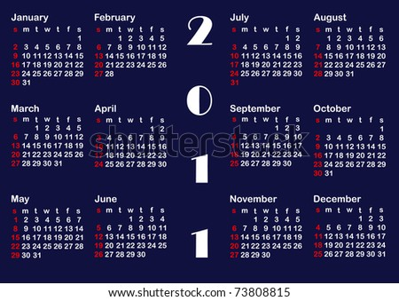 Classic calendar template for 2011. american style. Similar image in vector format  in my portfolio. - stock photo